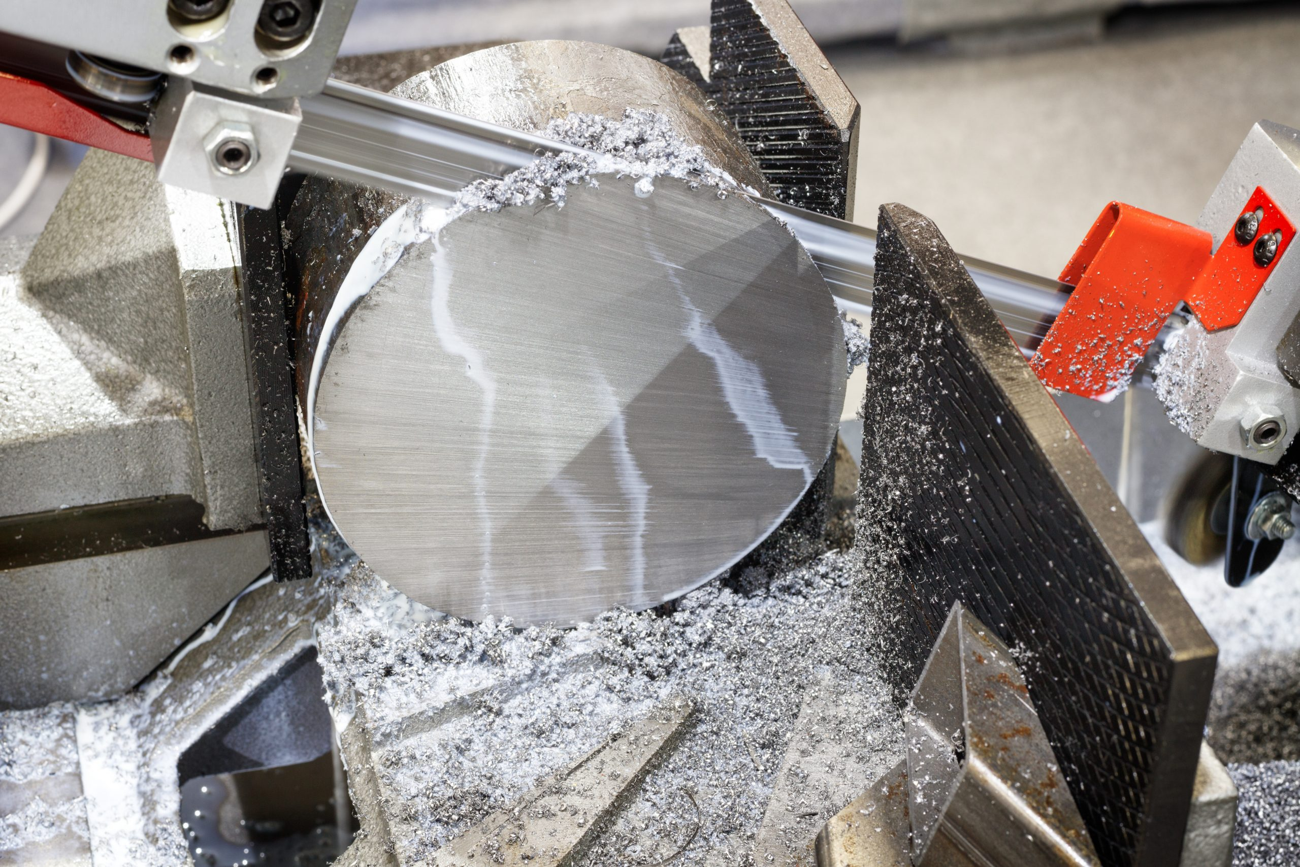 industrial metal machining cutting process of blank detail by mechanical electrical saw